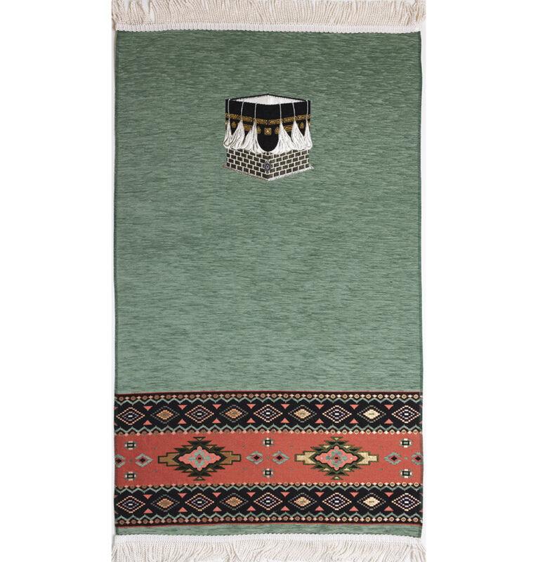 Turkish Islamic Luxury Woven Chenille Prayer Rug Janamaz Tribal Kaba Sage Green