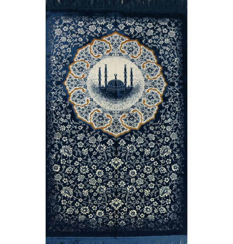 Turkish Islamic Janamaz Sajada Plush Velvet Prayer Rug Floral Mosque Blue