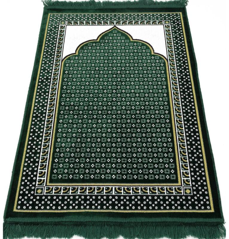 Velvet Dancing Rose Vine Islamic Prayer Rug Janamaz Sajadah Musallah - Green