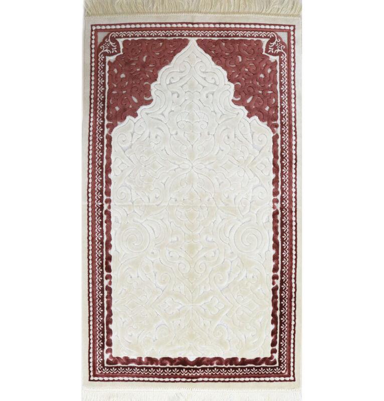 Plush Velvet Islamic Prayer Rug Janamaz Sajadah Solid Sina - Simple Pink