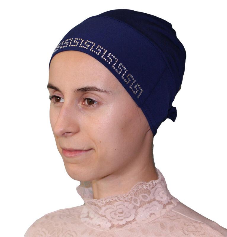 Islamic Turkish Cap Firdevs Luxury Rhinestone Hijab Bonnet Underscarf Navy Blue