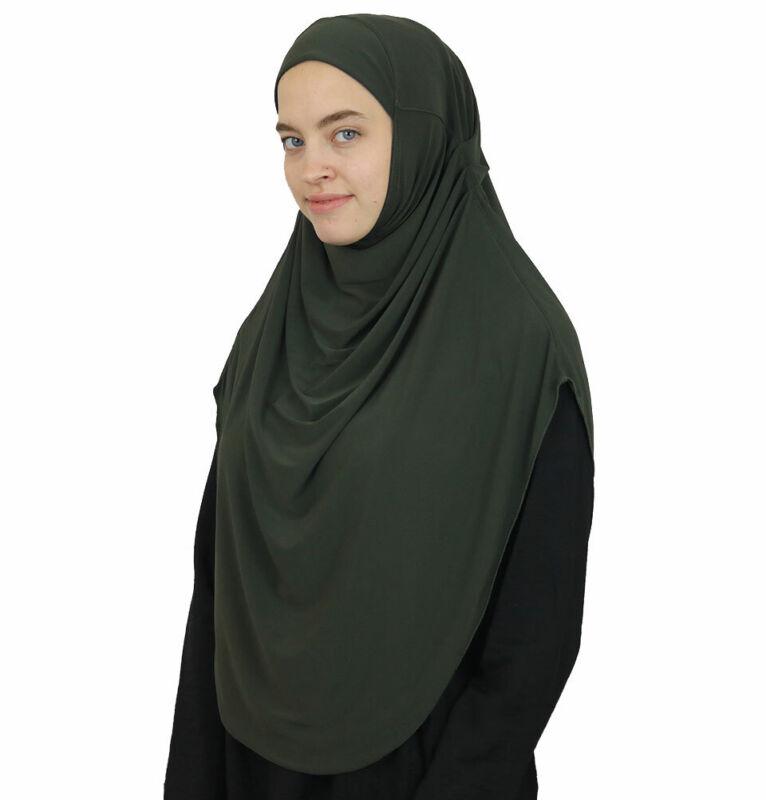 Modefa Turkish Islamic Long One Piece Instant Amira Practical Hijab Scarf Olive