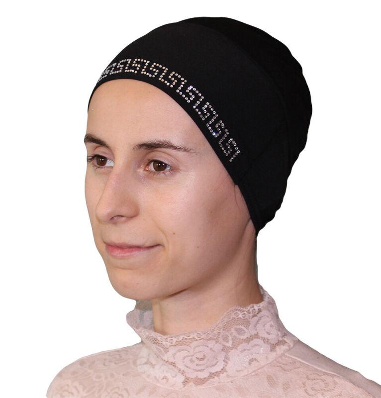 Islamic Turkish Firdevs Luxury Rhinestone Hijab Bonnet Underscarf Cap Black