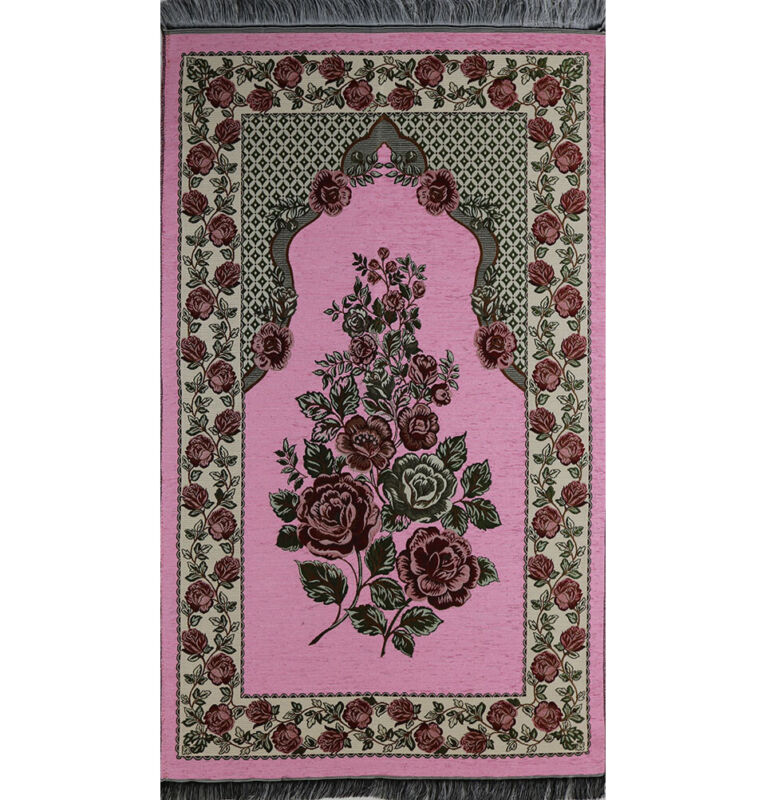 Turkish Islamic Thin Chenille Woven Embroidered Floral Rose Prayer Mat - Pink