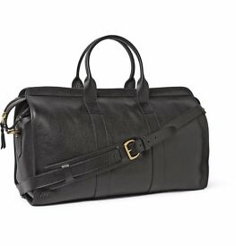 Lotuff Leather Men's Black Full-Grain Leather Holdall Weekender Duffle Travel Bag (New)