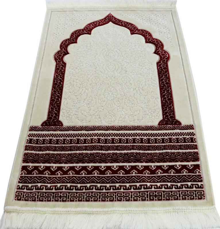 Modefa Turkish Islamic Plush Velvet Prayer Rug Janamaz Sajada Royal Mihrab - Red