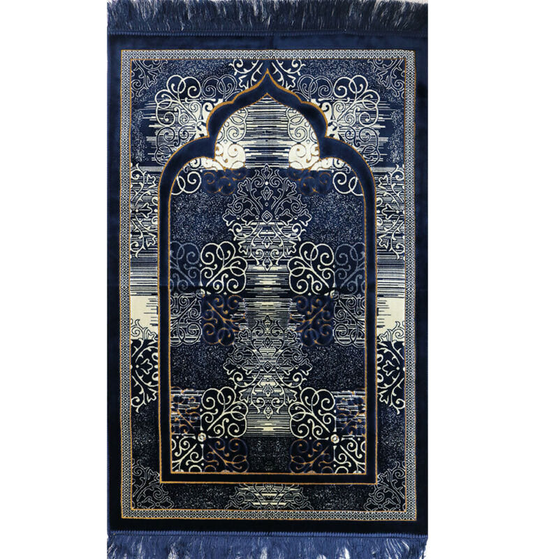 Modefa Velvet Prayer Rug Sajjadah Janamaz Stamp Classic Elegant Swirl Navy Blue