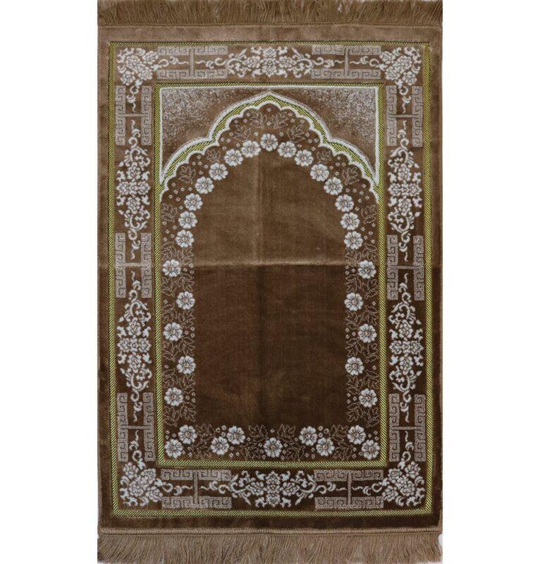 Plush Ipek Islamic Turkish Janamaz Sajada Velvet Prayer Rug - Beige Floral