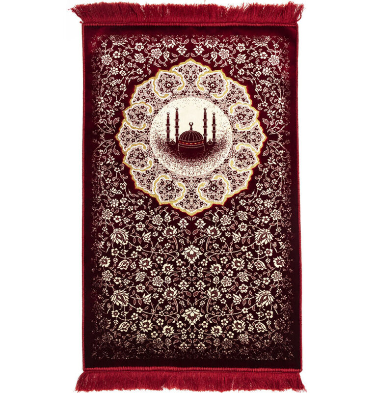 Modefa Islamic Muslim Plush Velvet Janamaz Sajada Prayer Rug Floral Mosque Red