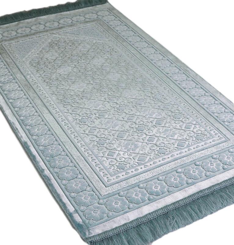 Turkish Islamic Velvet Prayer Rug Sajadah Floral Stamp Luxury Plush Light Blue