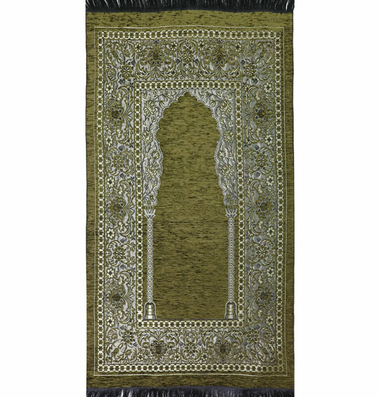 Modefa Islamic Prayer Mat Chenille Woven Turkish Embroidered Floral Olive Green
