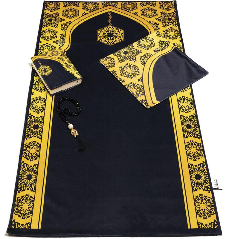 Turkish Islamic Luxury Quran & Prayer Rug 4 Piece Gift Set - Black/Gold