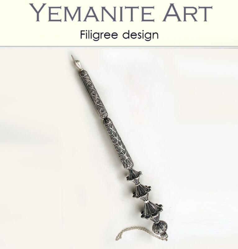 925 Sterling Silver Torah Pointer Filigree Artisan, Yemenite Art, Made in Israel