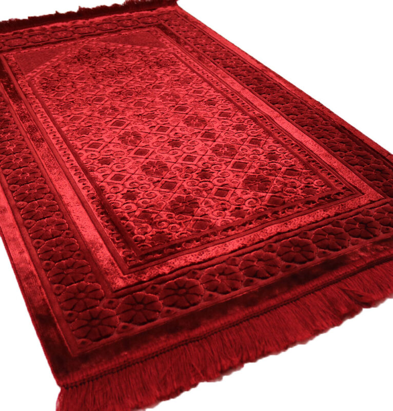 Turkish Islamic Velvet Prayer Rug Sajadah Floral Stamp Luxury Plush Red