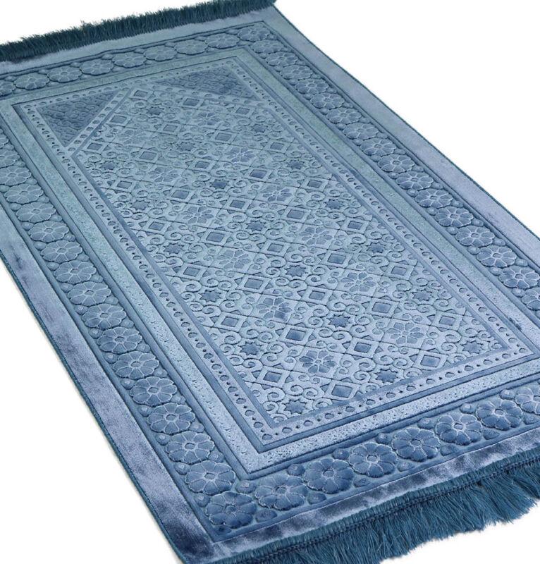 Turkish Islamic Velvet Prayer Rug Sajadah Floral Stamp Luxury Plush Steel Blue