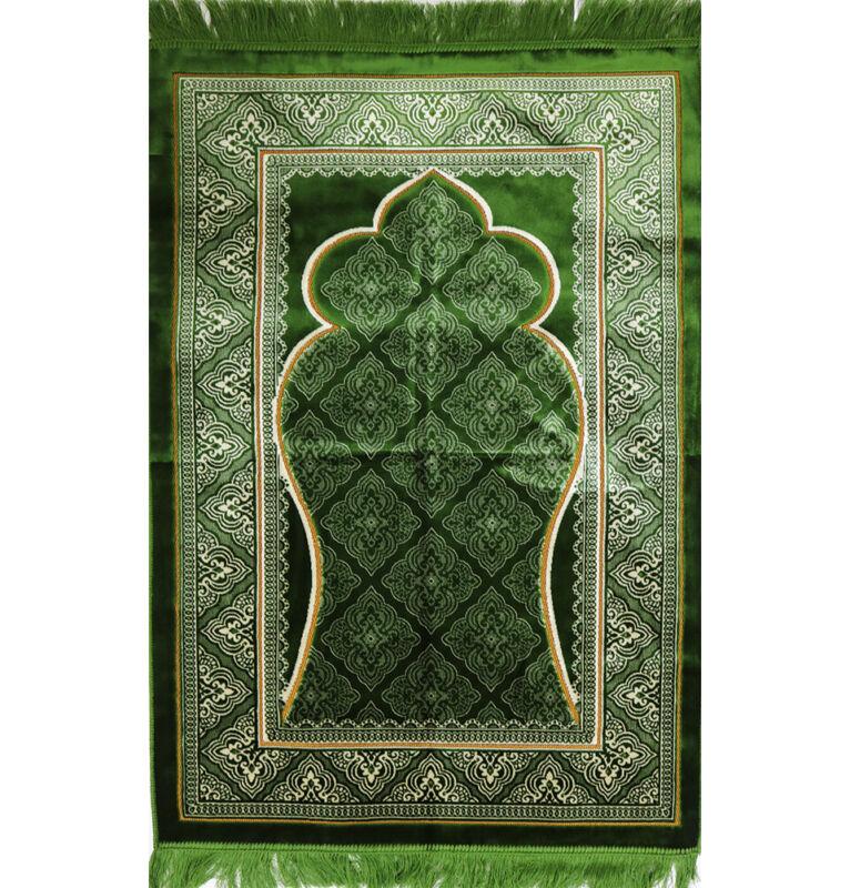 Velvet Wide Large Islamic Turkish Prayer Rug Janamaz Elegant Green