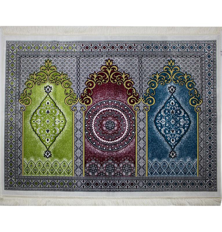 Turkish Islamic Janamaz Sajjadah Wide 3 Person Prayer Rug Multicolored #17-6
