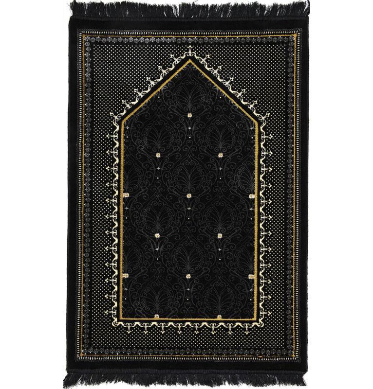 Modefa Turkish Islamic Double Plush Velvet Wide Janamaz Prayer Rug - Black