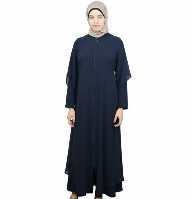 Women's Turkish Islamic Hooded Ferace Abaya Long Dress Hoodie 063 Navy Blue