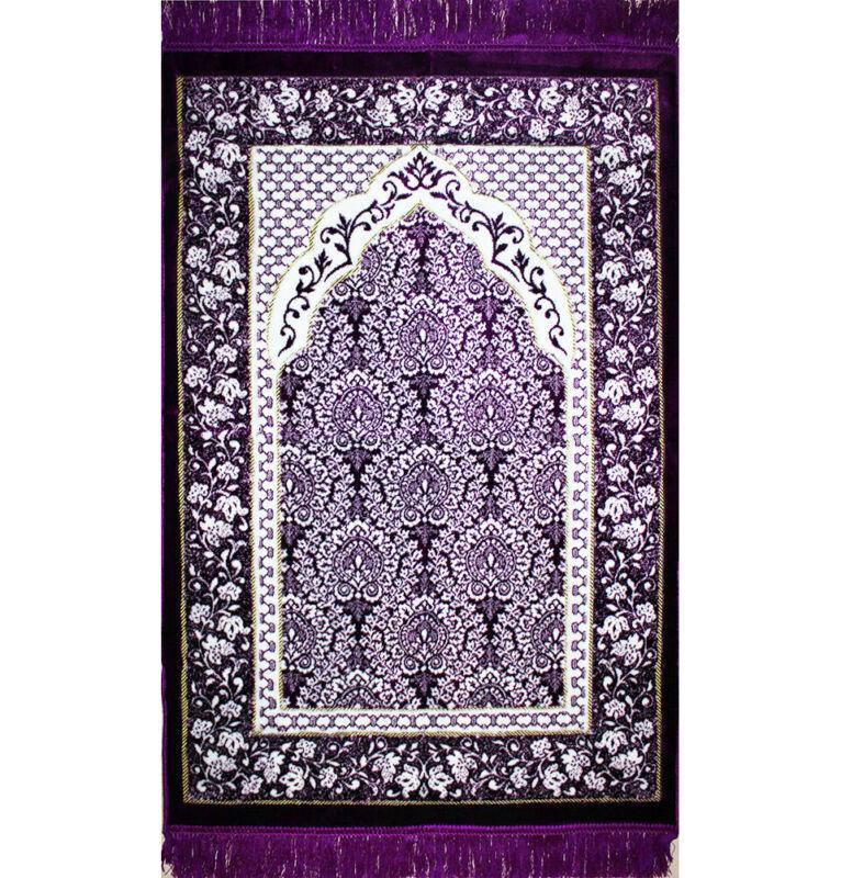 Plush Ipek Islamic Turkish Janamaz Sajada Prayer Rug Purple