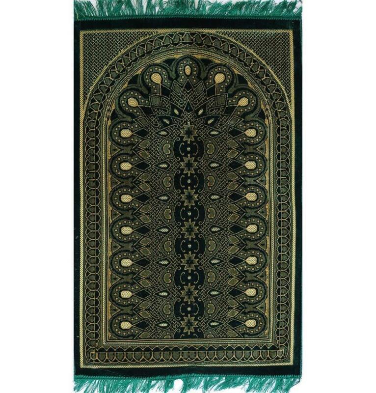 Modefa Thin Velvet Prayer Rug Namaz Sajadah Janamaz Floral Geometric Arch Green