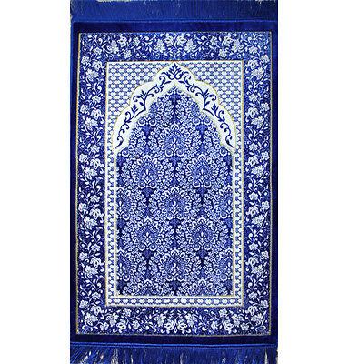 Turkish Islamic Prayer Rug Janamaz Sejadah Plush Velvet Ipek Blue