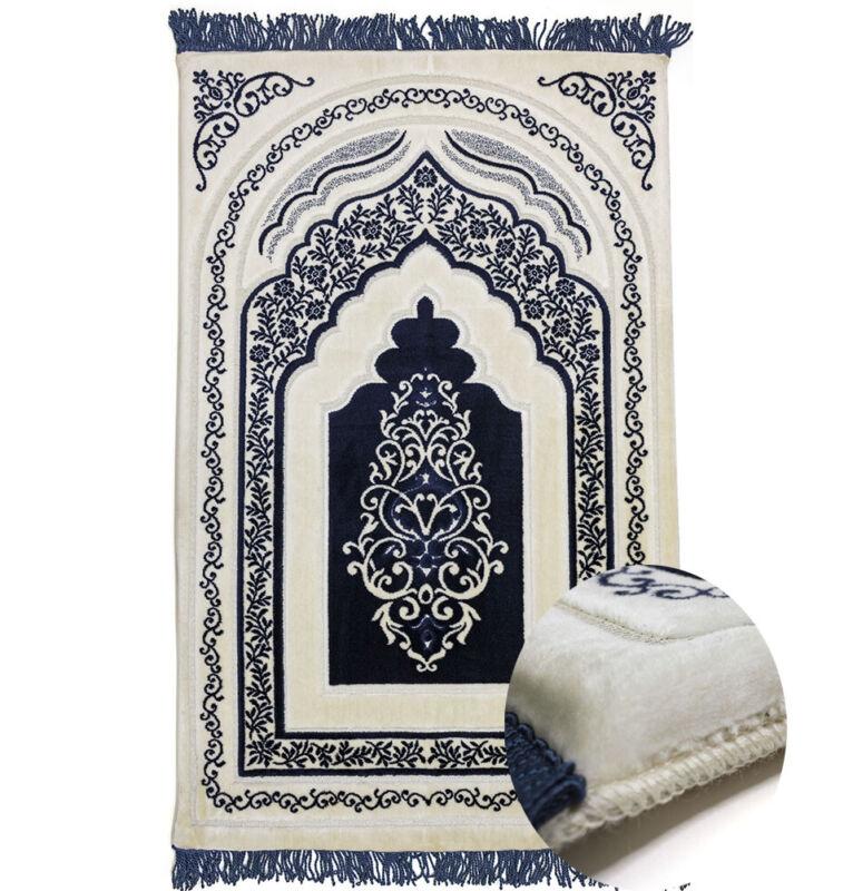 Modefa Turkish Velvet Prayer Rug - Luxury Orthopedic Padded Foam Cushion - Blue