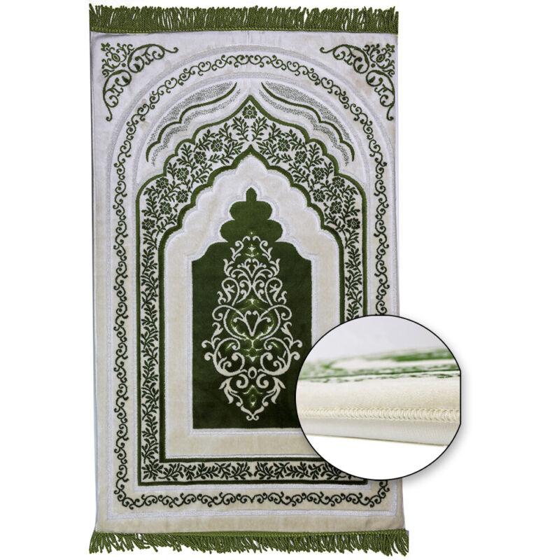 Islamic Turkish Luxury Orthopedic Padded Foam Cushion Velvet Prayer Rug - Green