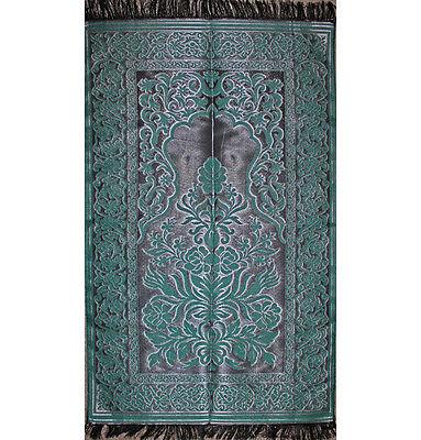Turkish Muslim Thin Prayer Mat Taffeta Floral Green / Black