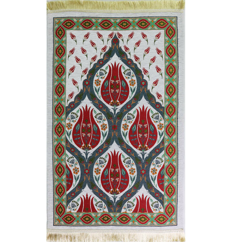 Luxury Turkish Islamic Woven Chenille Prayer Rug Janamaz Sajada - Tulip Red