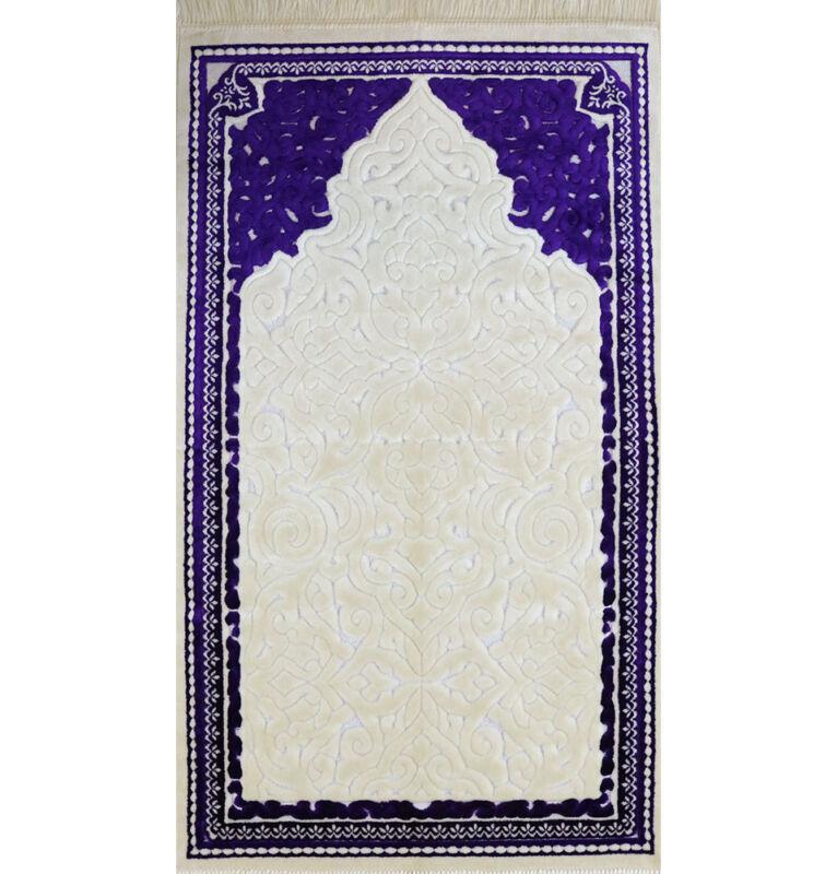 Plush Velvet Islamic Prayer Rug Janamaz Sajadah Solid Sina - Simple Purple