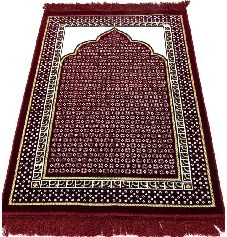 Velvet Dancing Rose Vine Islamic Prayer Rug Janamaz Sajadah Musallah - Red