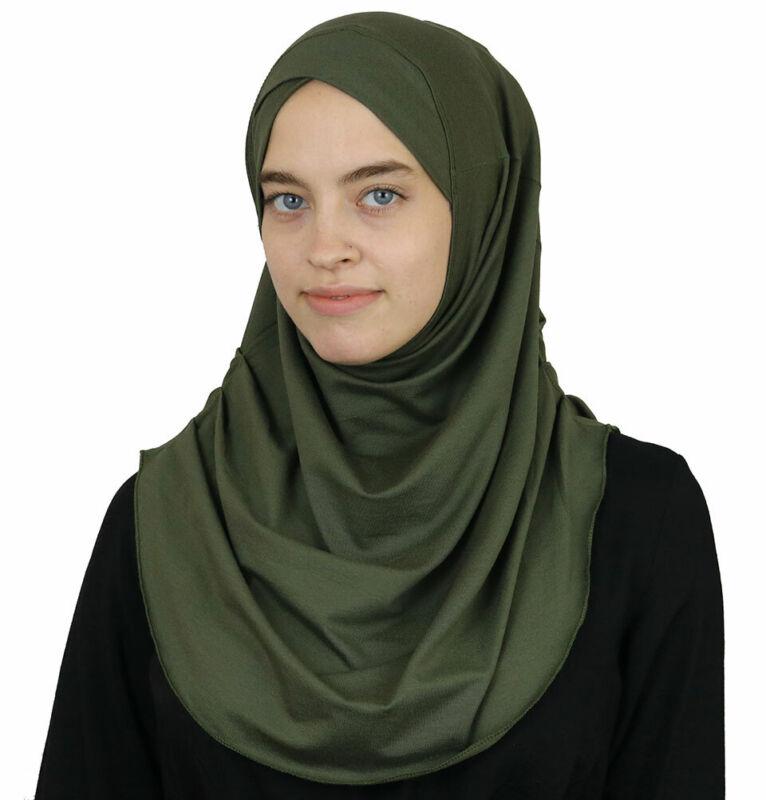 Modefa Turkish Islamic One Piece Instant Amira Practical Hijab Scarf Olive Green