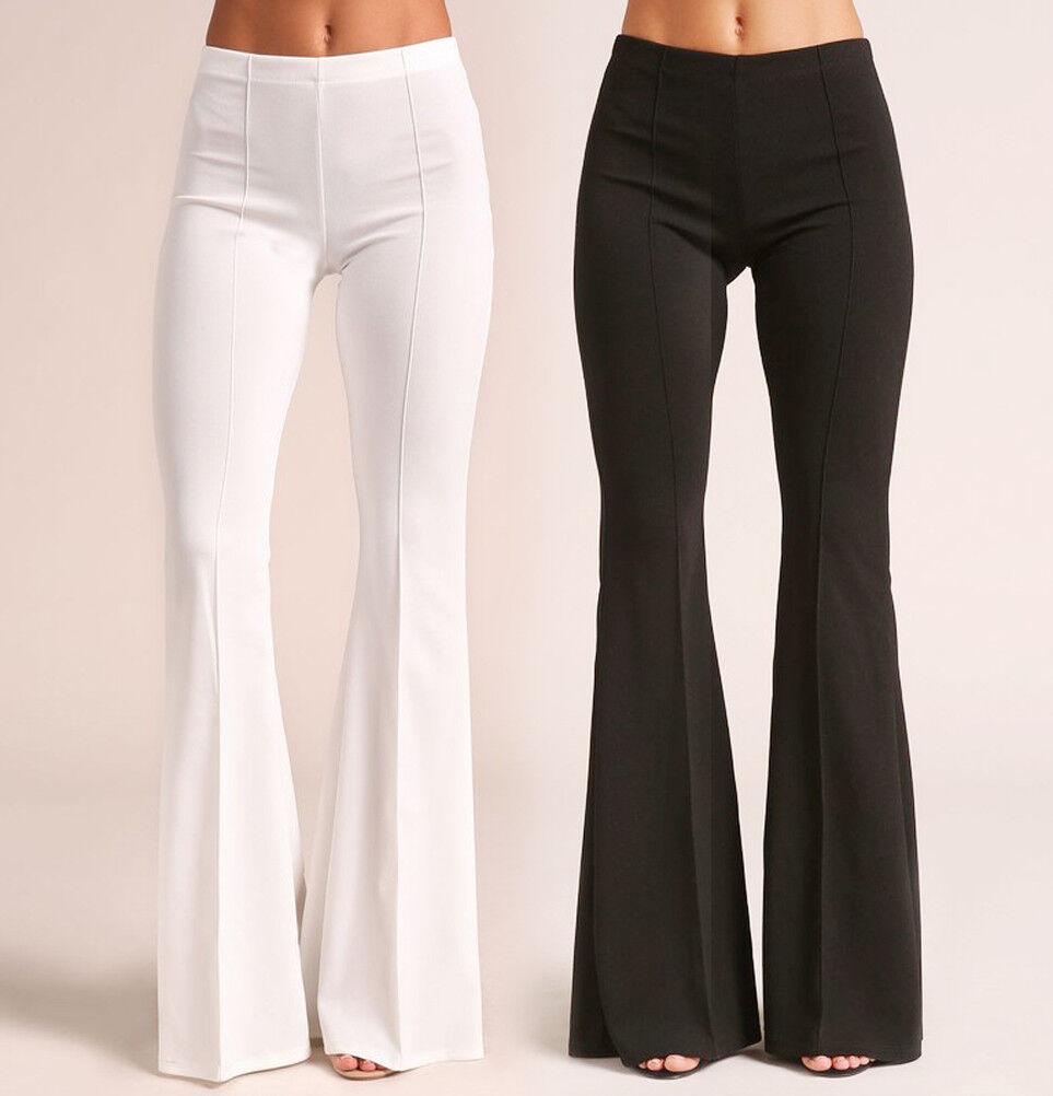 Women's Mid Rise Flare Leg Pants Dressy Work Stretch Long Se