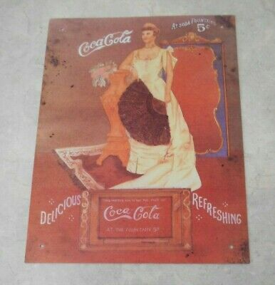 VTG REPRODUCTION COCA-COLA SIGN WITH WOMAN IN ANTIQUE VICTORIAN DRESS-HTF