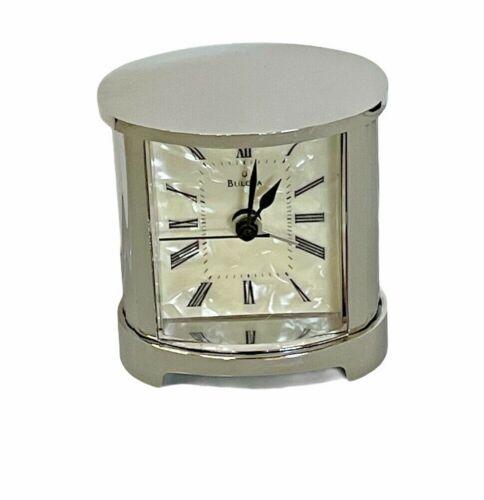Bulova   B2455   The Pearl Small Tabletop Alarm Clock   Mirror Polished Silver
