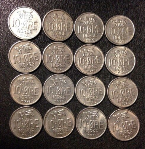 Vintage Norway Coin Lot - 10 ORE - BEE SERIES - 16 Uncommon Coins - Free Ship