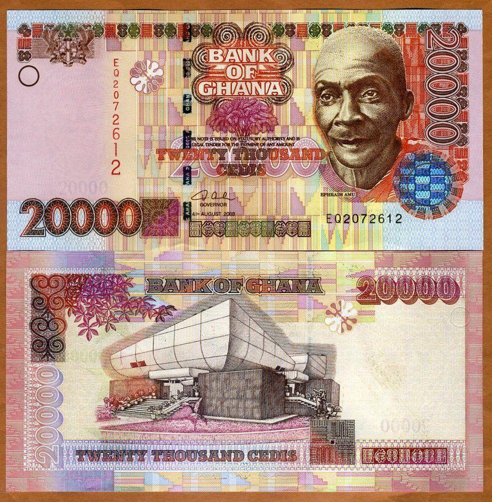 Ghana, 20000 (20,000) cedis, 2003 p-36 (36b), unc > highest denomination