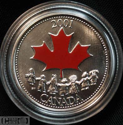 2001 Canada 25 Cents Spirit Coloured Canada Day