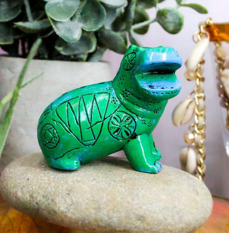 Turquoise Green Egyptian Goddess Taweret Hippo With Hieroglyphs Mini Figurine