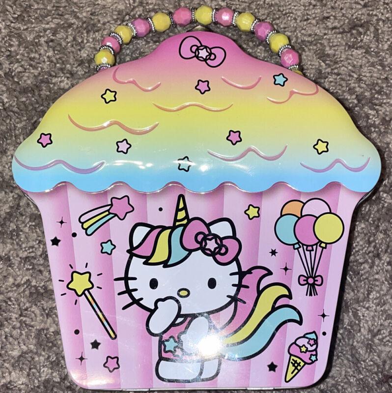 Hello Kitty Sanrio Pink Case Metal Tin Lunch Box Storage Case Latch & Handle