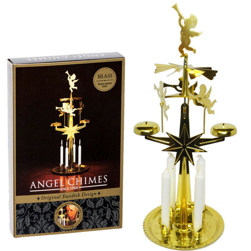 Swedish Christmas Angel Chimes - Original Swedish Design With 4 Candles - BRASS
