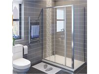 Sliding shower door and end panel, brand new in box, 1200 x 700