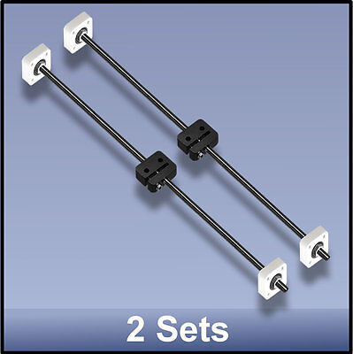Cnc Stainless Steel M8 495 Mm Lead Screwdelrin Nutbearing Assembly - 2 Sets