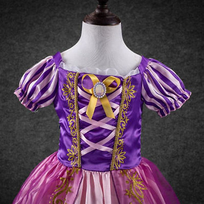 2018 Girls Rapunzel Fancy Dress Costume Kids Princess Outfit UK Ages 2-8 !