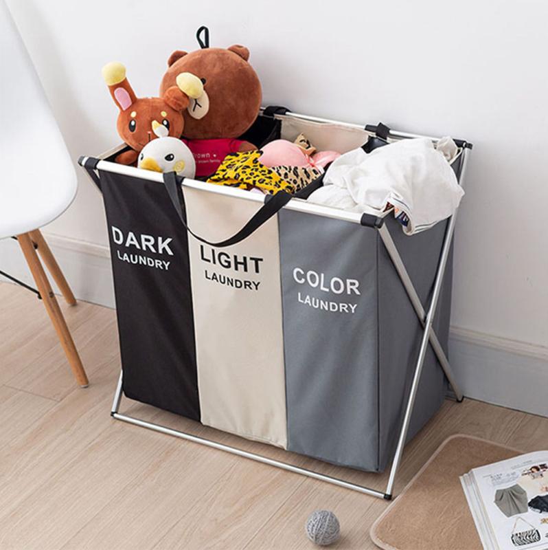 large 3 section laundry washing clothes bag
