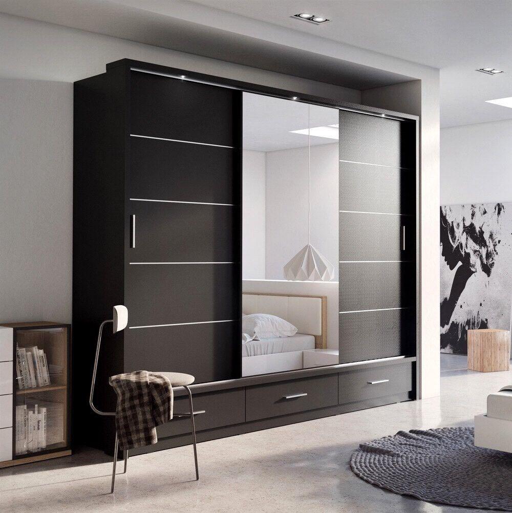 Brnd new modern design 3 door sliding wardrobe with led for Modern sliding doors