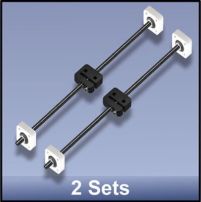 Cnc Stainless Steel M8 395 Mm Lead Screwdelrin Nutbearing Assembly - 2 Sets