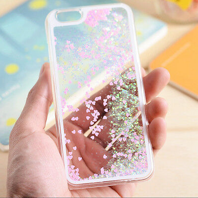 Bling Sparkle Glitter Heart Liquid Quicksand Hard Case Cover For Apple iPhone