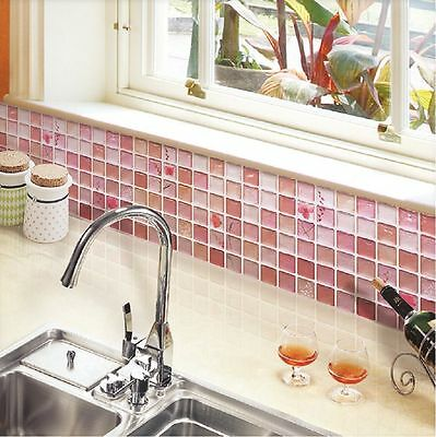 Home Bathroom Kitchen Wall Decor 3D Stickers Wallpaper Art Tile Red Backsplash